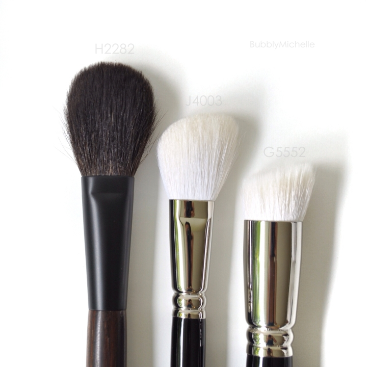 Hakuhodo cheek brushes close up