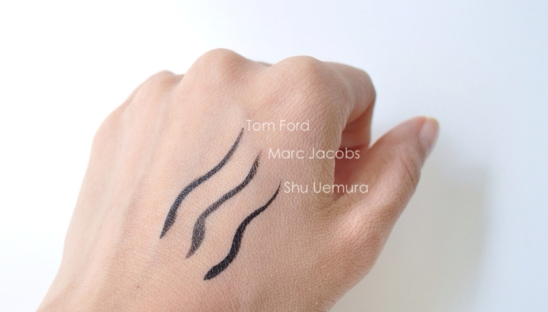 eye liner comparisons Calligraphink tom ford shu uemura magic marc'er