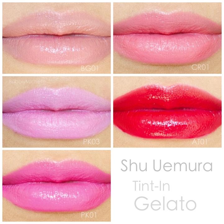 Tint in Gelato Lip swatches Shu Uemura