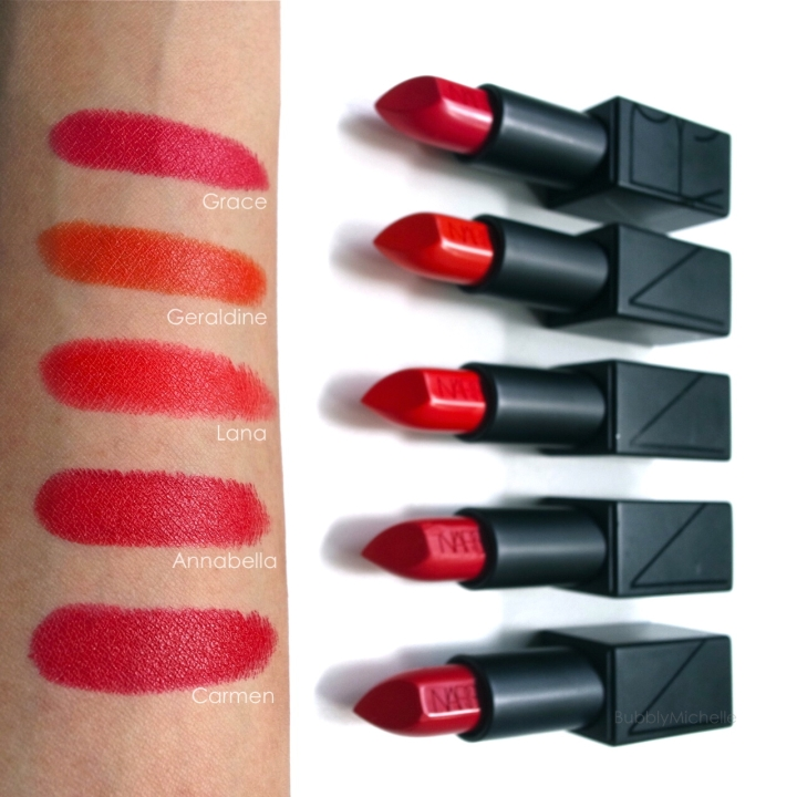 NARS Audacious lipstick swatches red