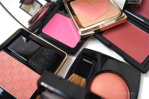 Blush swatches Gucci Chanel Nars RMK Lancome
