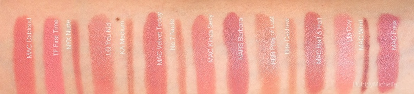 Nude lip liner swatches