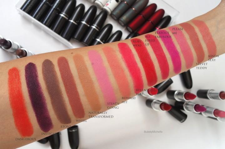 MAC Matte lipstick swatches