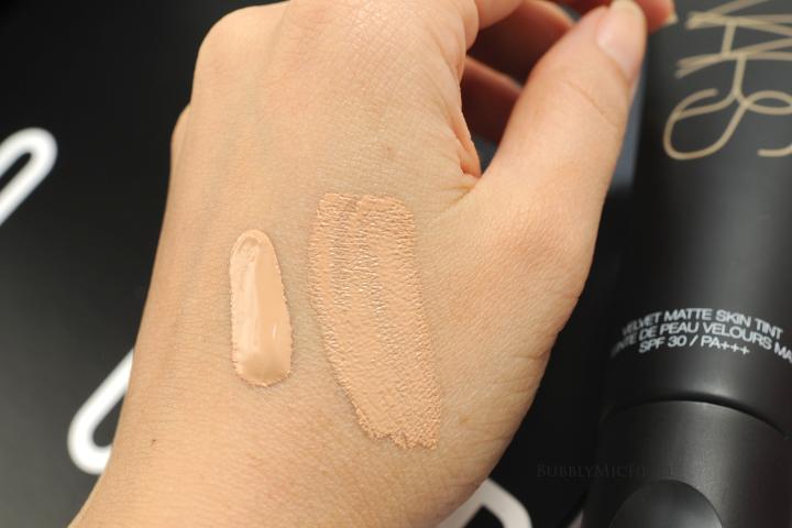 NARS Velvet matte skin tint swatches