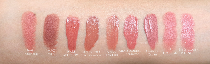 NARS Comparison swatches