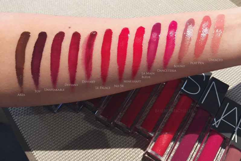NARS Velvet lip glide swatches