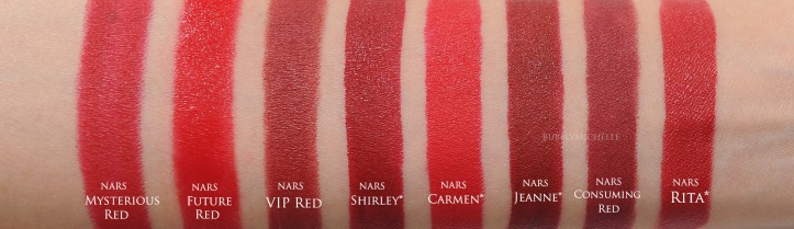 NARS Shirley comparison swatches