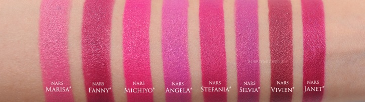NARS Stefania comparison swatches