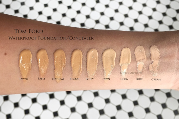 Tom Ford waterproof foundation swatches