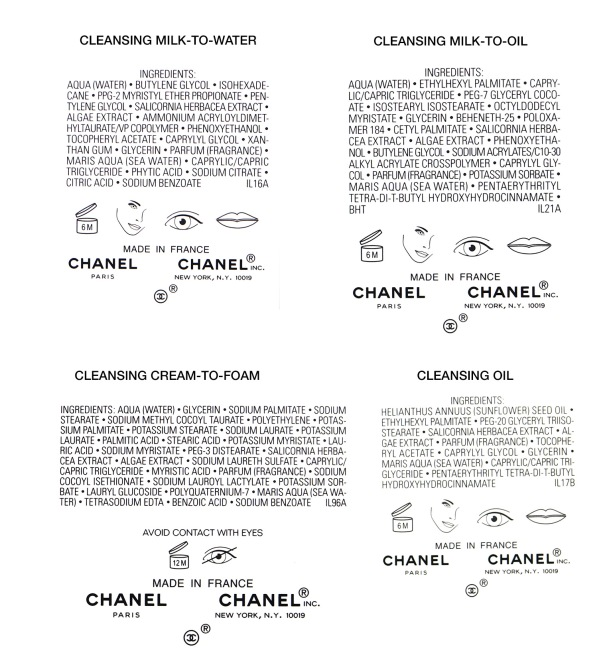 chanel cleanser ingredients list